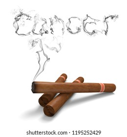 The word cancer rising in black smoke from a smoking cigar, 3d rendering on a white background