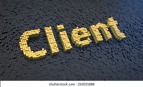 Word 'Client' of the yellow square pixels on a black matrix background