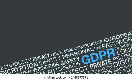 word cloud about general data protection regulation, GDPR concept, lock data and protecting citizen privacy, copy space
