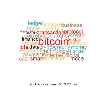 """Word cloud of bitcoin, cryptocurrency, virtual money and transactions isolated. The word """"bitcoin"""" emphasized"""