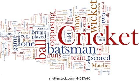 Word cloud concept illustration of Cricket sport