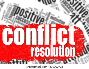 Word cloud conflict resolution image with hi-res rendered artwork that could be used for any graphic design.