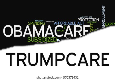 Word cloud containing words related to Obamacare reform, opposed to so called Trumpcare, a move to replace the act with another legislation