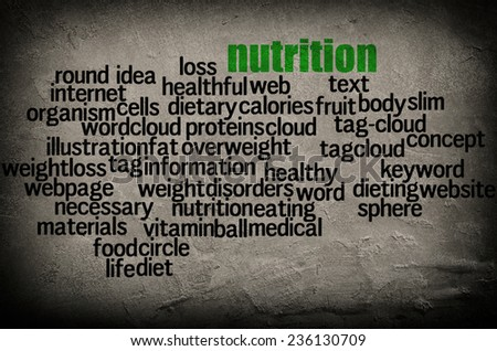 word cloud containing words related nutrition stock illustration