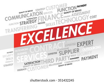 Word cloud of EXCELLENCE related items, presentation background