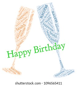Word cloud: Happy Birthay with champagne glasses