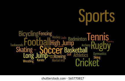 Word cloud illustrating the different kind of sports played across the globe