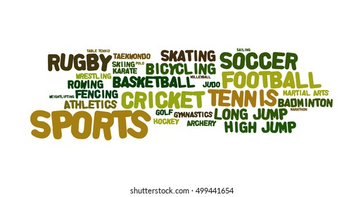 Word cloud illustrating the different sporting events that are popular and are played in large numbers across the globe