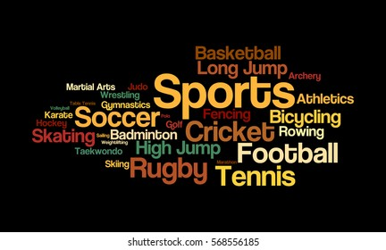 Word cloud illustrating the various sports played across the globe