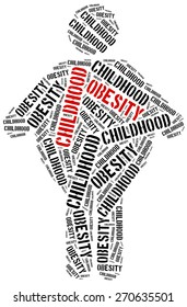 Word cloud illustration related to childhood obesity. Health care concept.