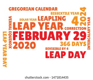 Word cloud for leap day, february 29 in the next leap year 2020. Illustration in red and orange tints.