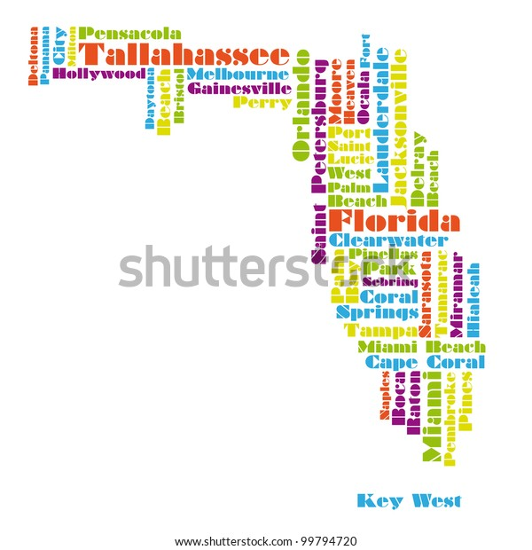Word Cloud Map Florida State Stockillustration 99794720
