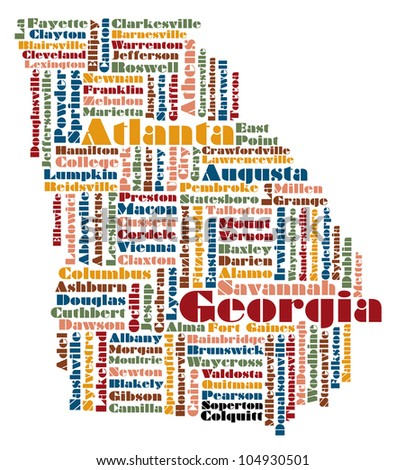 Pearson Georgia Map.Word Cloud Map Georgia State Usa Stock Illustration Royalty Free