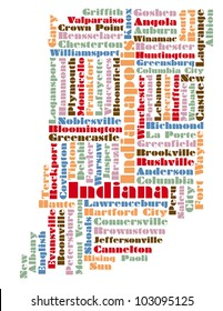 word cloud map of Indiana state, usa