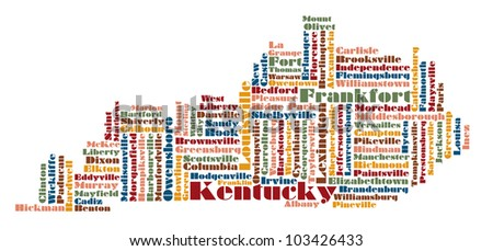 State Map Kentucky.Royalty Free Stock Illustration Of Word Cloud Map Kentucky State Usa