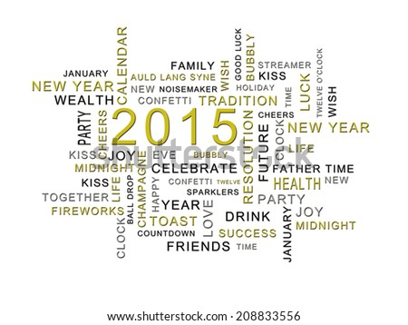 Word Cloud New Year 2015 Words Stock Illustration 208833556 ...