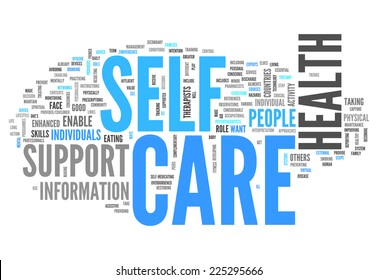 Word Cloud with Self Care related tags