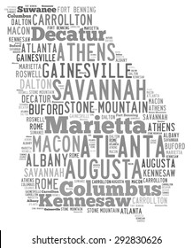 Word Cloud in the shape of Georgia showing some of the cities in the state