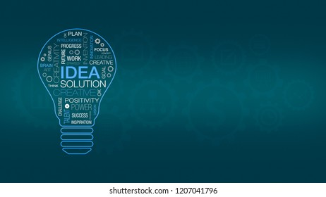 word cloud with the shape of a light bulb, concept of idea, think and solution, background with cogwheels and business related icons, copy space
