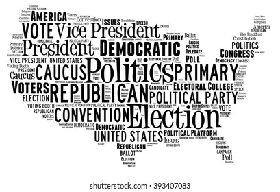 Word Cloud in the shape of the United States showing words dealing with elections
