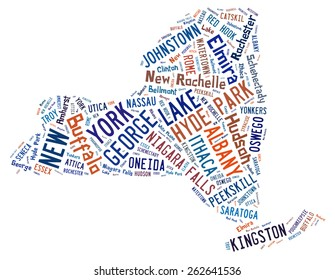 Word Cloud shaped like the state of New York showing the cities in the state of New York