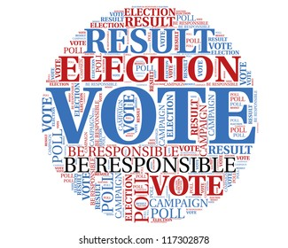Word cloud, tag cloud text business concept. Voting sign silhouette with the  words on the topic of voting, election, poll. Word collage.