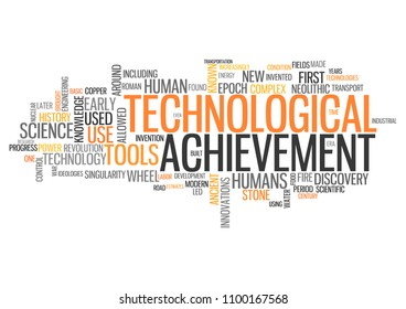 Word Cloud with Technological Achievement related tags