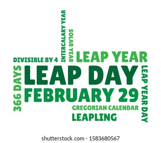 Word cloud with terms that are connected to leap day and 29 february. Color palette is green, as 'leap day' is mostly associated with a green frog (leaping).