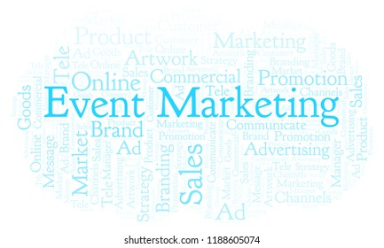 Word cloud with text Event Marketing. Wordcloud made with text only.