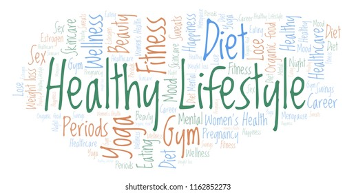 Word cloud with text Healthy Lifestyle on a white background.