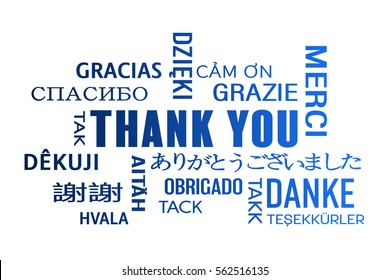 word cloud  - thank you in different languages - blue