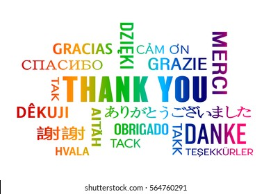 word cloud  - thank you in different languages - colorful