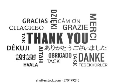 word cloud  - thank you in different languages - black