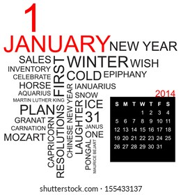 word cloud with twentysomething facts and figures about january 2014, including calendar of the month