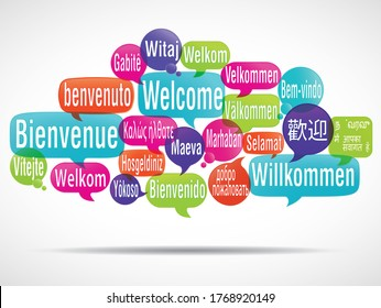 """word cloud of the word """"welcome"""" in different languages"""