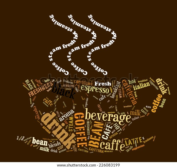 Word Cloud Words Related Coffee Shape Stock Illustration