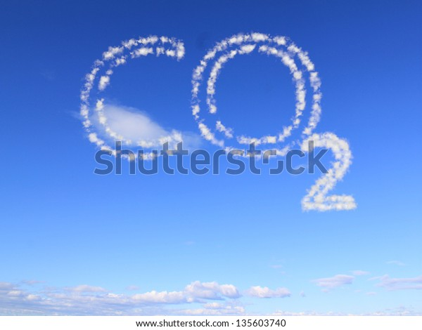 the word co2 as clouds in the blue sky