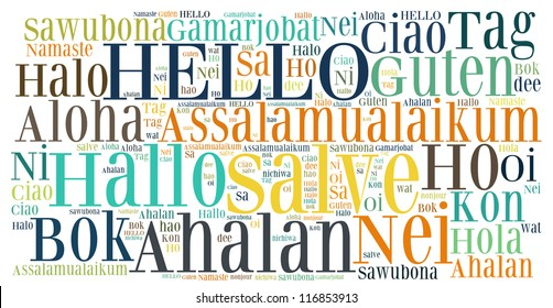 word collage of hello (greet people) in different languages