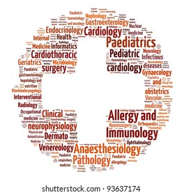 Word collage on medical specialty - British spellings