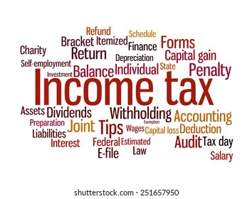 Wortbegriff-Illustration der Einkommensteuer