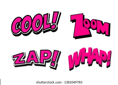 word cool,zoom,zap, whap in vintage comic style on white background.
