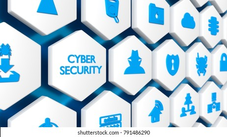 The word cybersecurity in blue and various security icons on a white hexagon wall with blue background 3D illustration