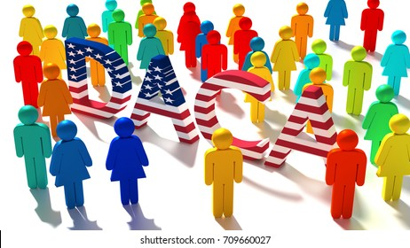The word DACA with an american flag texture surrounded by a group of differently colored people immigration concept 3D illustration