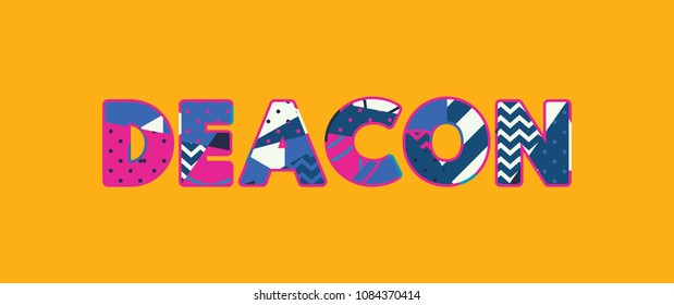 The word DEACON concept written in colorful abstract typography.