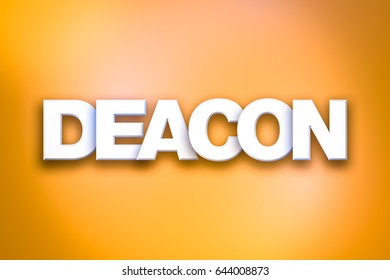 The word Deacon concept written in white type on a colorful background.
