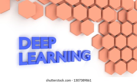 The word deep learning in blue on white next to hexagon pattern 3D illustration