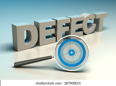 Word defect with magnifier and target. Concept of zero defects or tqm