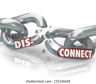 The word DIsconnect on metal chain links pulling apart to symbolize separation, dissolution, divorce,  or the end of a partnership