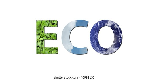 The word eco is written composing of elements of earth, water and air. Water picture from NASA.
