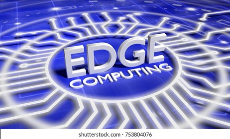 The word edge computing on a blue network surface surrounded by circuit wires 3D illustration